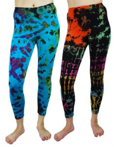 Hippy Leggings - 3/4 Length Tie Dye Hippy Leggings - Fair Trade - Folio Gothic Hippy